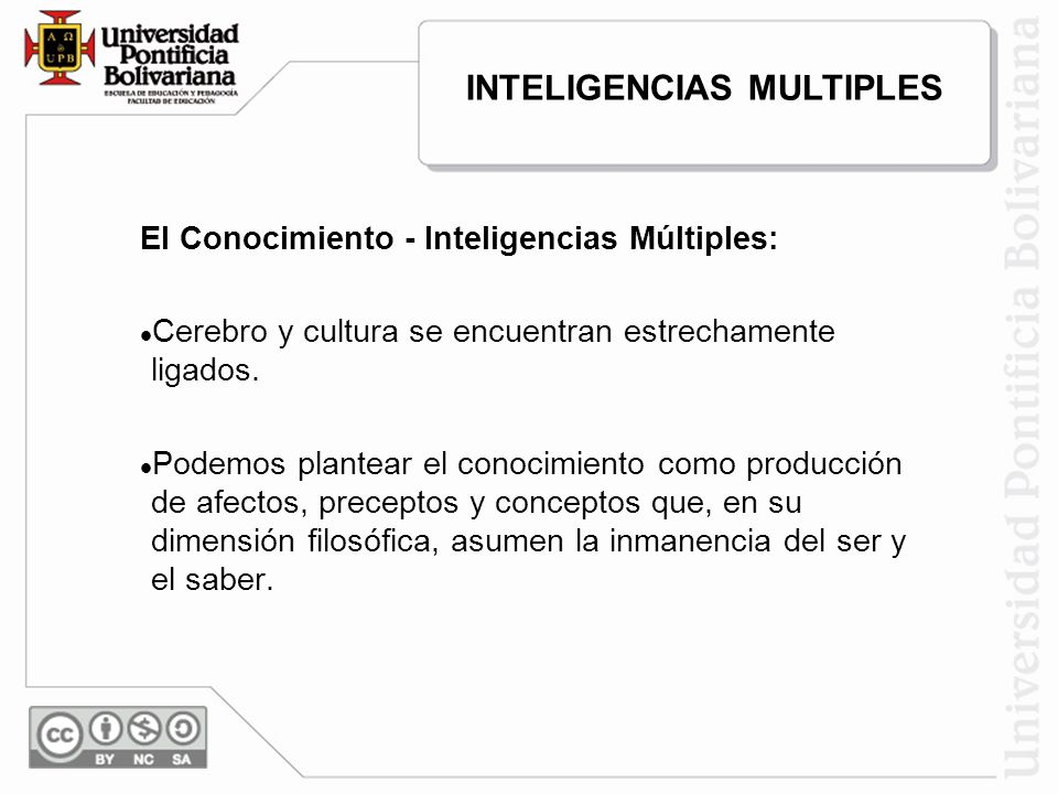 El Conocimiento - Inteligencias Múltiples: Cerebro y cultura se encuentran estrechamente ligados. Podemos plantear el conocimiento como producción de