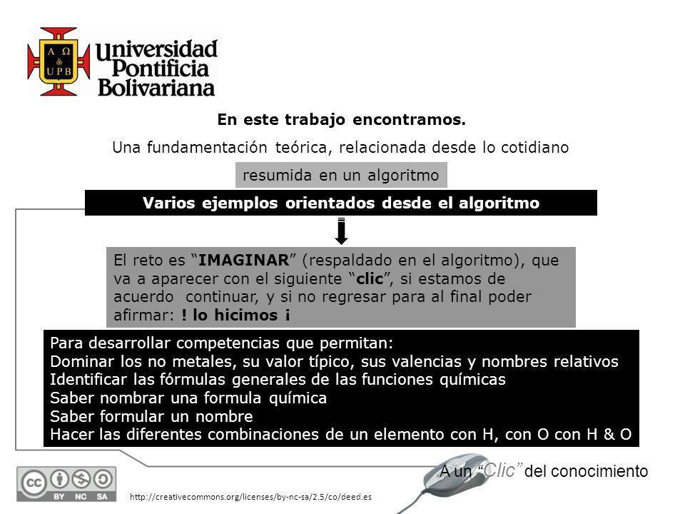 http://creativecommons.org/licenses/by-nc-sa/2.5/co/deed.es A un Clic del conocimiento Nomenclatura fórmulas generales para ácidos y sales Autor: IQ L