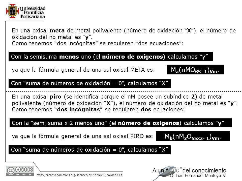 11/06/2014 http://creativecommons.org/licenses/by-nc-sa/2.5/co/deed.es A un Clic del conocimiento I.Q. Luis Fernando Montoya V. En una oxisal orto de