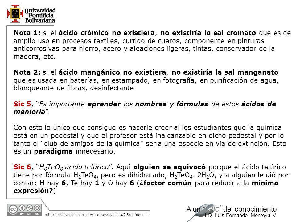 11/06/2014 http://creativecommons.org/licenses/by-nc-sa/2.5/co/deed.es A un Clic del conocimiento I.Q. Luis Fernando Montoya V. COMENTARIOS Sic 1, Áci