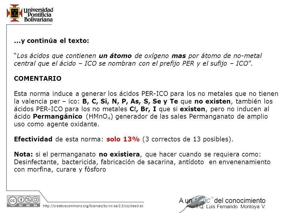 11/06/2014 http://creativecommons.org/licenses/by-nc-sa/2.5/co/deed.es A un Clic del conocimiento I.Q. Luis Fernando Montoya V....y sigue el texto: Lo