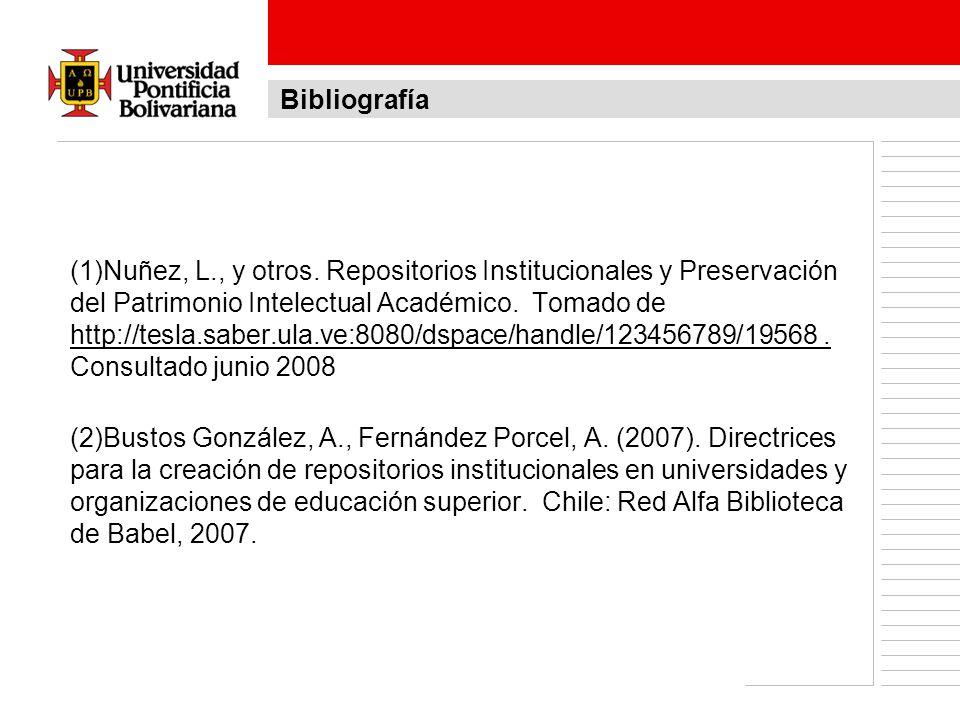 (1)Nuñez, L., y otros. Repositorios Institucionales y Preservación del Patrimonio Intelectual Académico. Tomado de http://tesla.saber.ula.ve:8080/dspa
