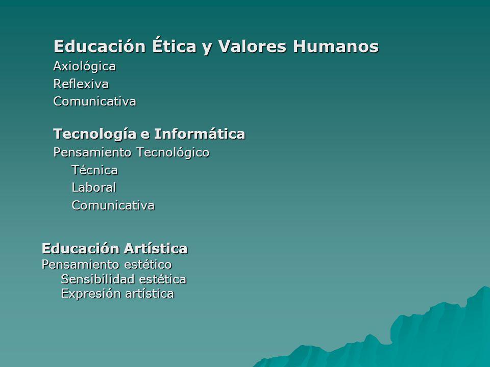 Educación Ética y Valores Humanos AxiológicaReflexivaComunicativa Tecnología e Informática Pensamiento Tecnológico TécnicaLaboralComunicativa Educació