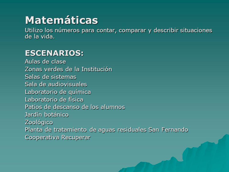 Matemáticas Utilizo los números para contar, comparar y describir situaciones de la vida. ESCENARIOS: Aulas de clase Zonas verdes de la Institución Sa