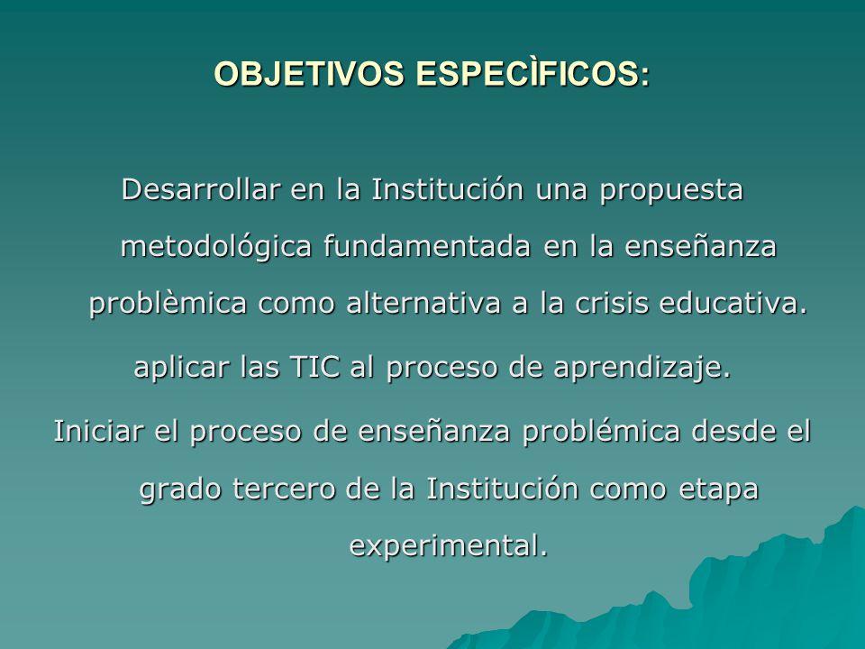 OBJETIVOS ESPECÌFICOS: Desarrollar en la Institución una propuesta metodológica fundamentada en la enseñanza problèmica como alternativa a la crisis e