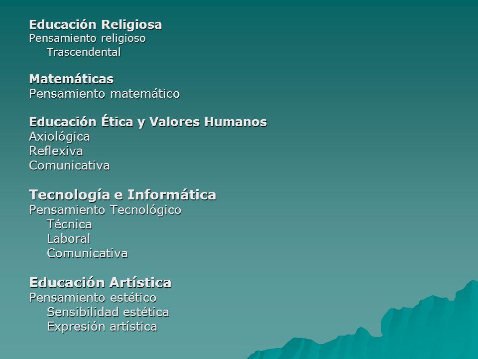 Educación Religiosa Pensamiento religioso TrascendentalMatemáticas Pensamiento matemático Educación Ética y Valores Humanos AxiológicaReflexivaComunic