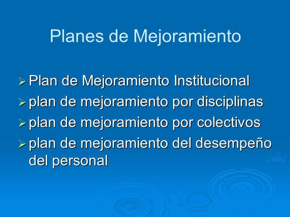 Planes de Mejoramiento Plan de Mejoramiento Institucional Plan de Mejoramiento Institucional plan de mejoramiento por disciplinas plan de mejoramiento