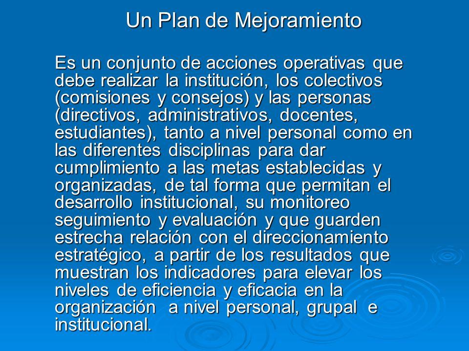 Un Plan de Mejoramiento Es un conjunto de acciones operativas que debe realizar la institución, los colectivos (comisiones y consejos) y las personas
