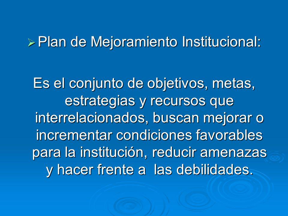 Plan de Mejoramiento Institucional: Plan de Mejoramiento Institucional: Es el conjunto de objetivos, metas, estrategias y recursos que interrelacionad