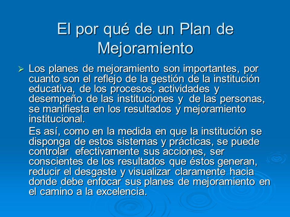 El por qué de un Plan de Mejoramiento Los planes de mejoramiento son importantes, por cuanto son el reflejo de la gestión de la institución educativa,