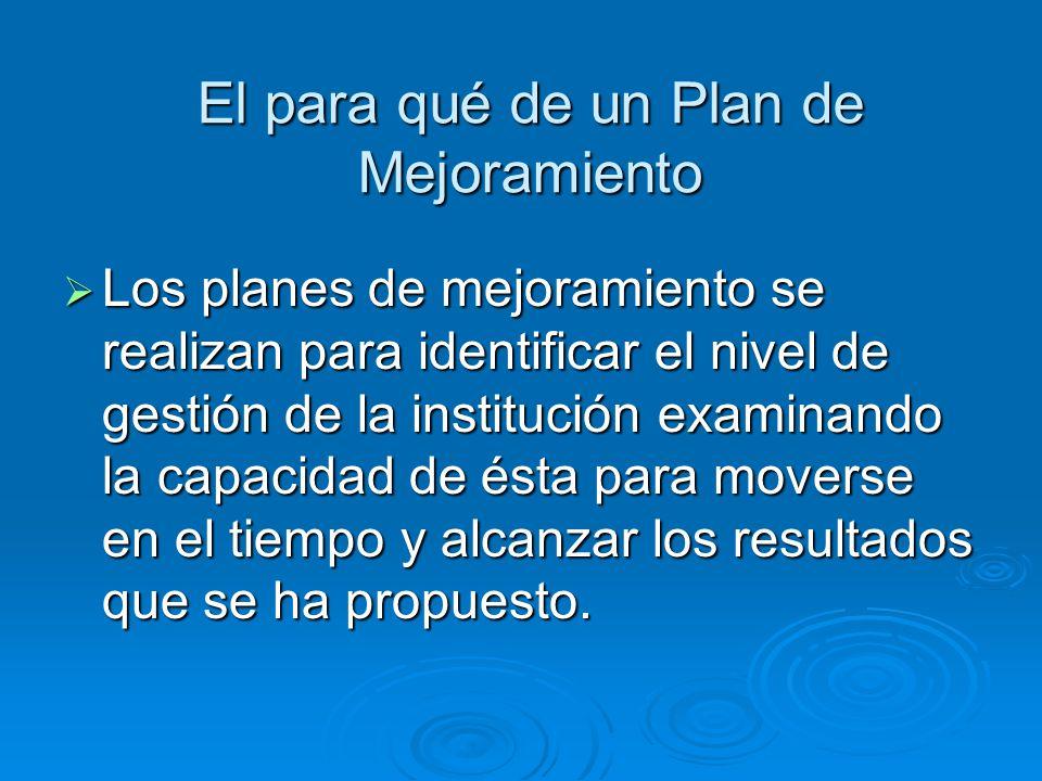 El para qué de un Plan de Mejoramiento Los planes de mejoramiento se realizan para identificar el nivel de gestión de la institución examinando la cap