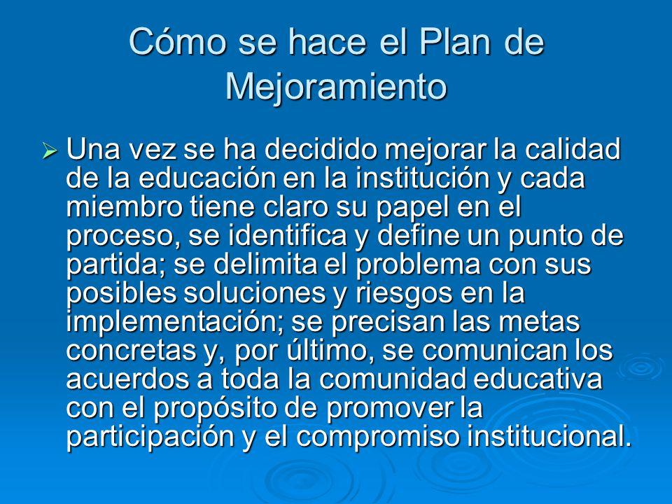 Cómo se hace el Plan de Mejoramiento Una vez se ha decidido mejorar la calidad de la educación en la institución y cada miembro tiene claro su papel e