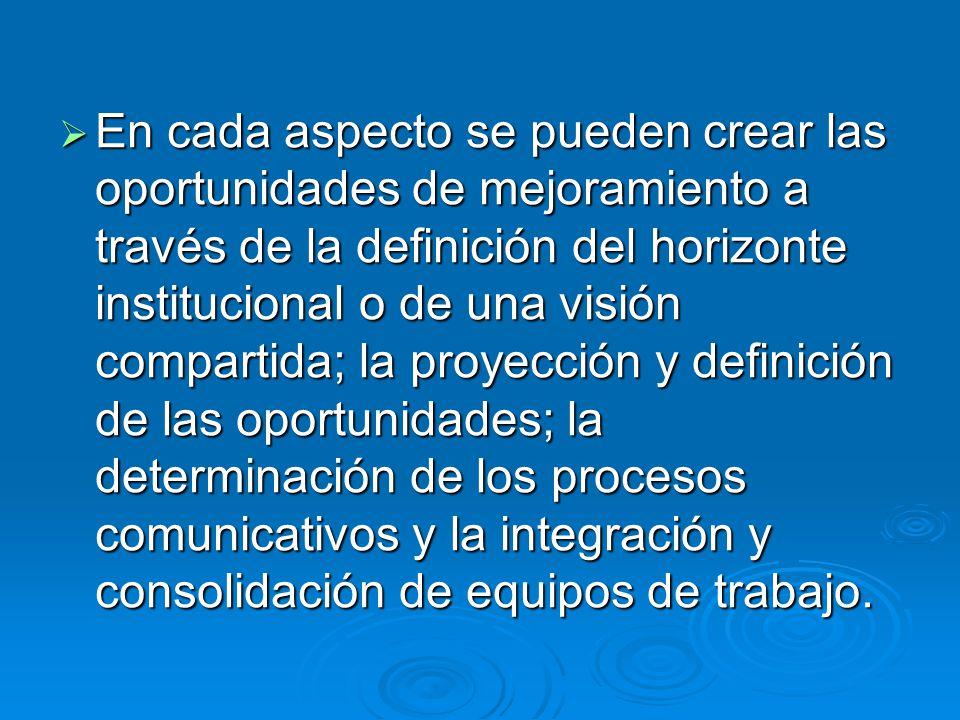 En cada aspecto se pueden crear las oportunidades de mejoramiento a través de la definición del horizonte institucional o de una visión compartida; la