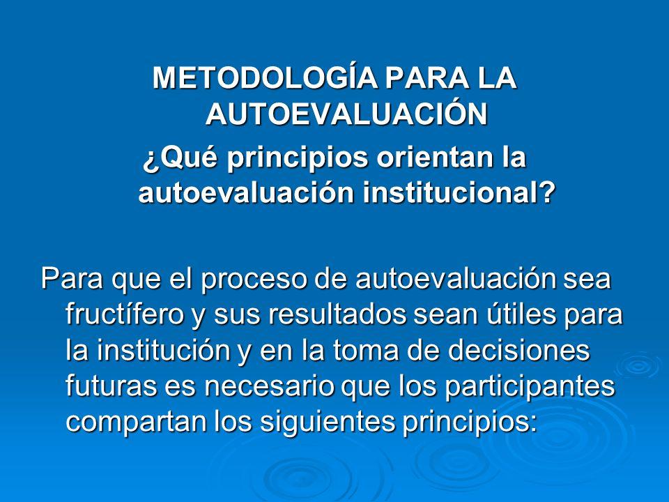 METODOLOGÍA PARA LA AUTOEVALUACIÓN ¿Qué principios orientan la autoevaluación institucional? Para que el proceso de autoevaluación sea fructífero y su