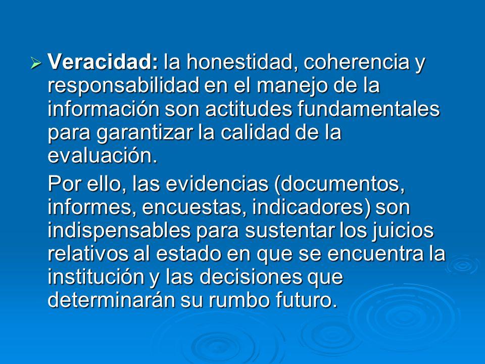 Veracidad: la honestidad, coherencia y responsabilidad en el manejo de la información son actitudes fundamentales para garantizar la calidad de la eva
