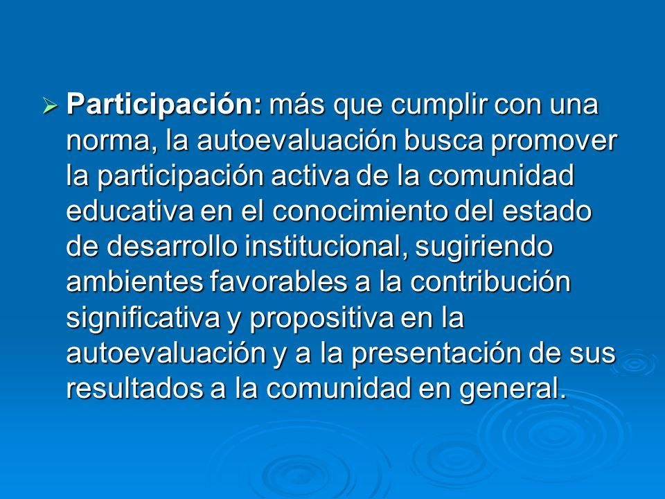 Participación: más que cumplir con una norma, la autoevaluación busca promover la participación activa de la comunidad educativa en el conocimiento de