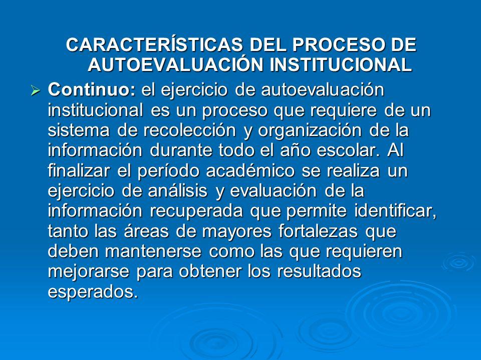 CARACTERÍSTICAS DEL PROCESO DE AUTOEVALUACIÓN INSTITUCIONAL Continuo: el ejercicio de autoevaluación institucional es un proceso que requiere de un si