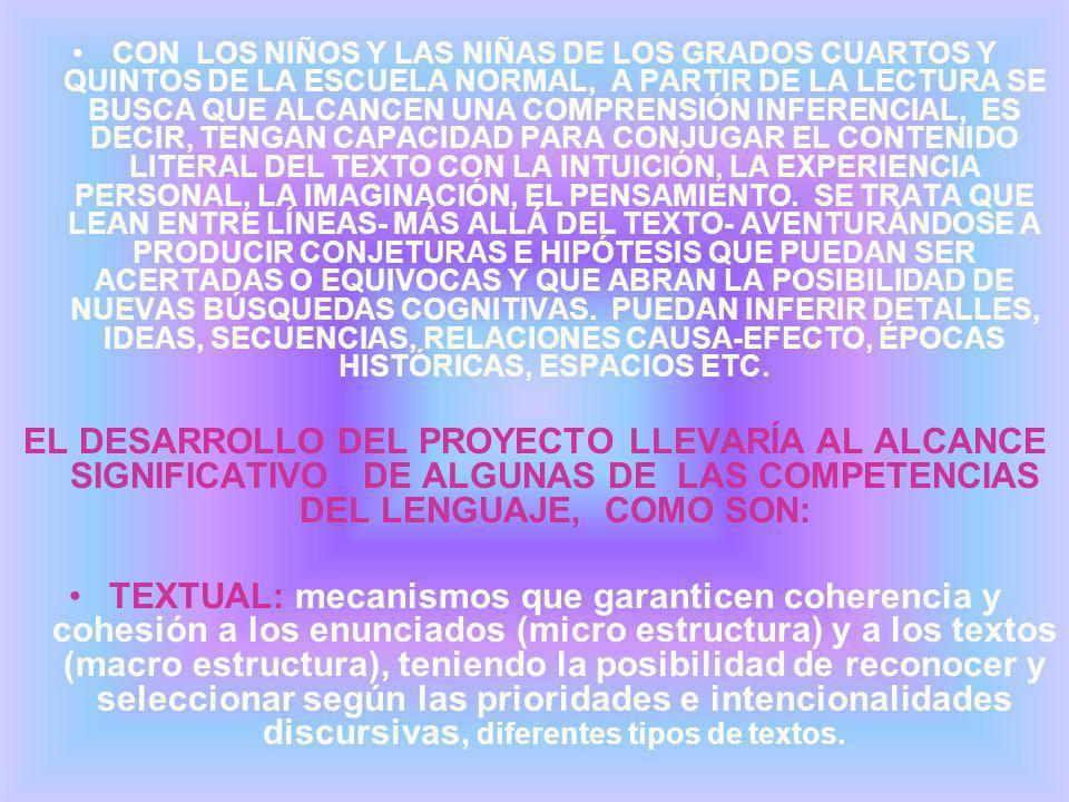 CON LOS NIÑOS Y LAS NIÑAS DE LOS GRADOS CUARTOS Y QUINTOS DE LA ESCUELA NORMAL, A PARTIR DE LA LECTURA SE BUSCA QUE ALCANCEN UNA COMPRENSIÓN INFERENCIAL, ES DECIR, TENGAN CAPACIDAD PARA CONJUGAR EL CONTENIDO LITERAL DEL TEXTO CON LA INTUICIÓN, LA EXPERIENCIA PERSONAL, LA IMAGINACIÓN, EL PENSAMIENTO.