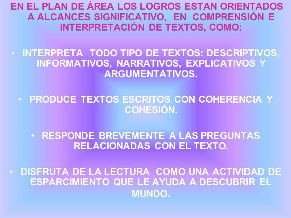 EN EL PLAN DE ÁREA LOS LOGROS ESTAN ORIENTADOS A ALCANCES SIGNIFICATIVO, EN COMPRENSIÓN E INTERPRETACIÓN DE TEXTOS, COMO: INTERPRETA TODO TIPO DE TEXTOS: DESCRIPTIVOS, INFORMATIVOS, NARRATIVOS, EXPLICATIVOS Y ARGUMENTATIVOS.