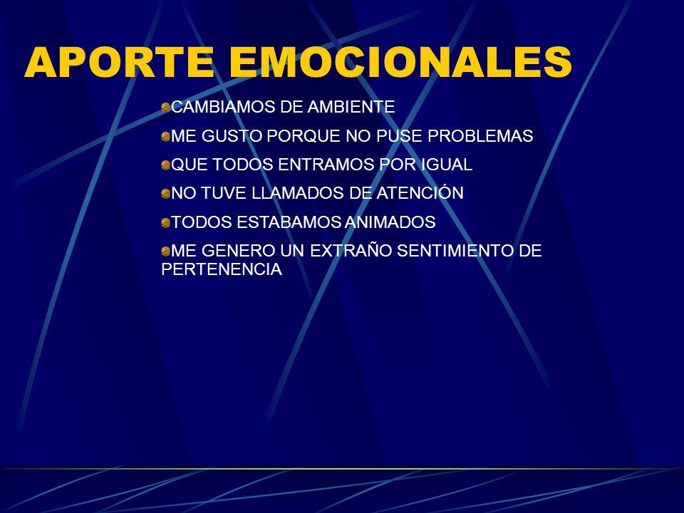 APORTE EMOCIONALES CAMBIAMOS DE AMBIENTE ME GUSTO PORQUE NO PUSE PROBLEMAS QUE TODOS ENTRAMOS POR IGUAL NO TUVE LLAMADOS DE ATENCIÓN TODOS ESTABAMOS A