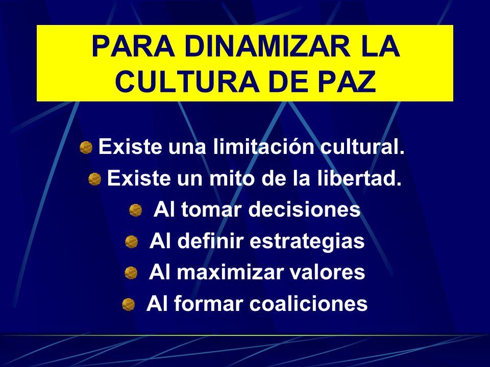 PARA DINAMIZAR LA CULTURA DE PAZ Existe una limitación cultural. Existe un mito de la libertad. Al tomar decisiones Al definir estrategias Al maximiza