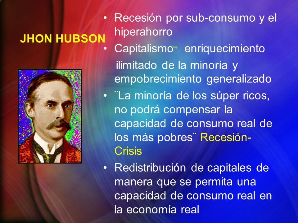 JHON HUBSON Recesión por sub-consumo y el hiperahorro Capitalismo enriquecimiento ilimitado de la minoría y empobrecimiento generalizado ¨La minoría d