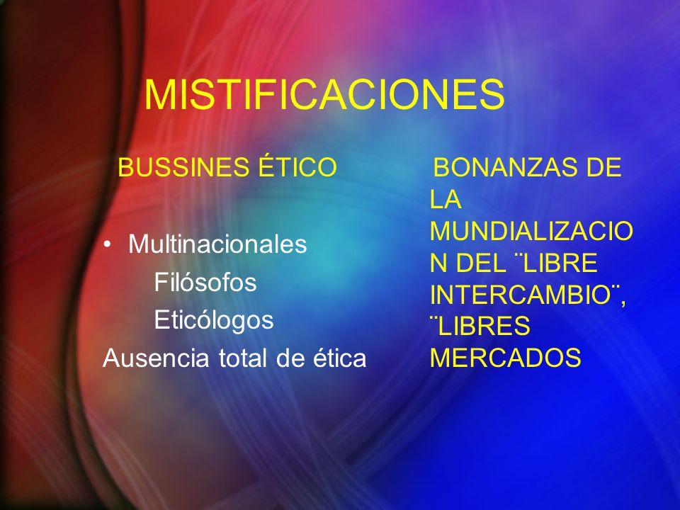 MISTIFICACIONES BUSSINES ÉTICO Multinacionales Filósofos Eticólogos Ausencia total de ética BONANZAS DE LA MUNDIALIZACIO N DEL ¨LIBRE INTERCAMBIO¨, ¨LIBRES MERCADOS