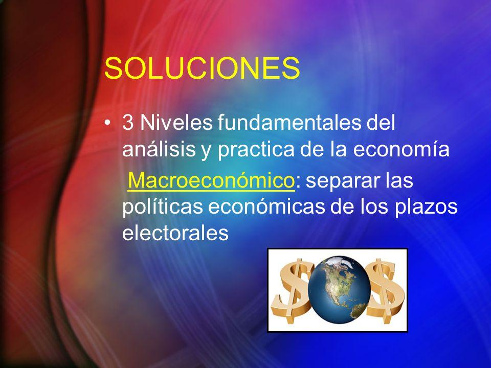 SOLUCIONES 3 Niveles fundamentales del análisis y practica de la economía Macroeconómico: separar las políticas económicas de los plazos electorales