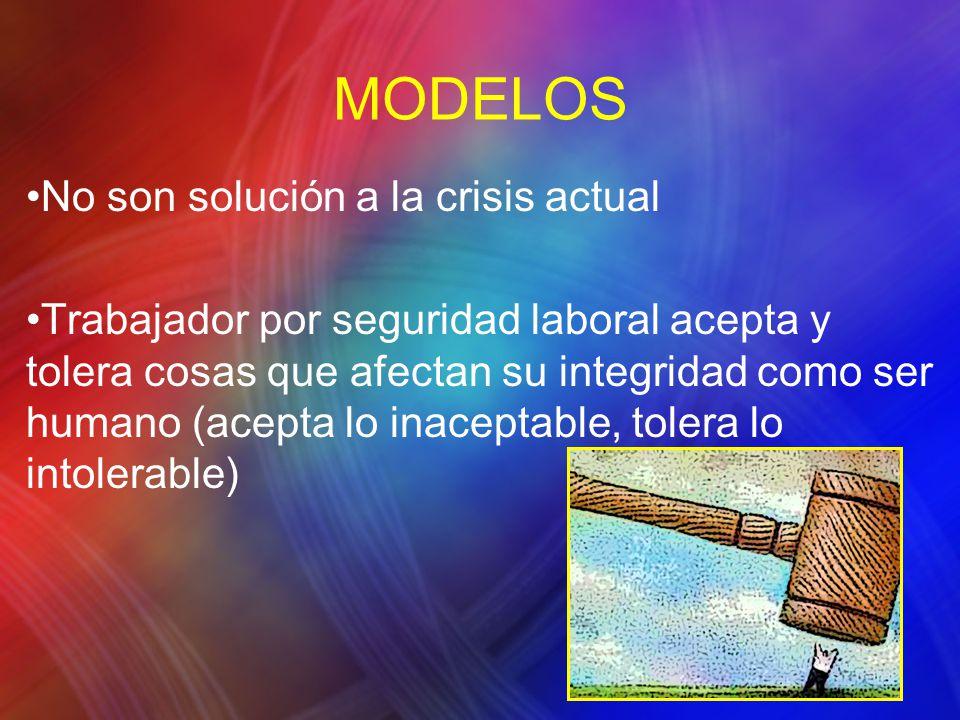 MODELOS No son solución a la crisis actual Trabajador por seguridad laboral acepta y tolera cosas que afectan su integridad como ser humano (acepta lo inaceptable, tolera lo intolerable)
