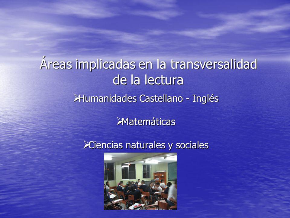 Áreas implicadas en la transversalidad de la lectura Humanidades Castellano - Inglés Humanidades Castellano - Inglés Matemáticas Matemáticas Ciencias