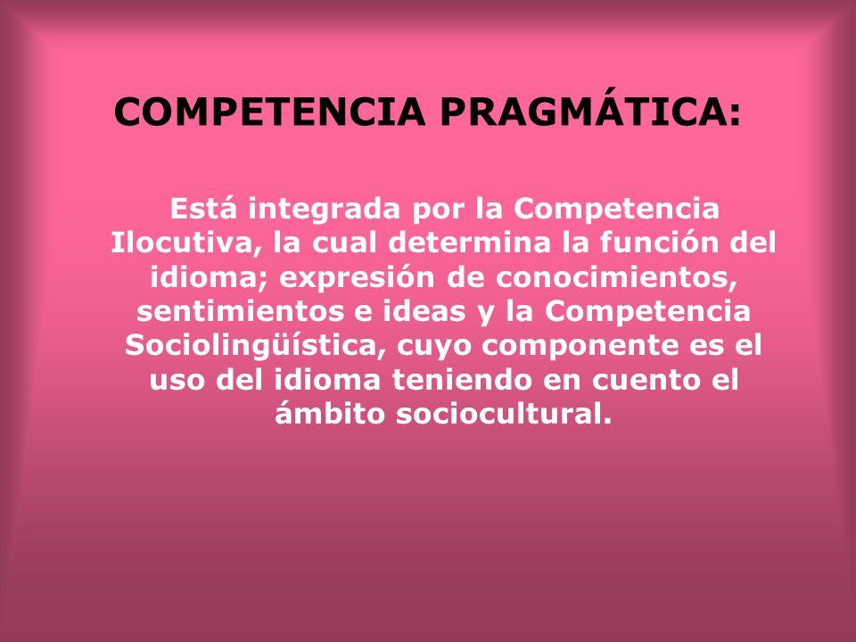 COMPETENCIA PRAGMÁTICA: Está integrada por la Competencia Ilocutiva, la cual determina la función del idioma; expresión de conocimientos, sentimientos