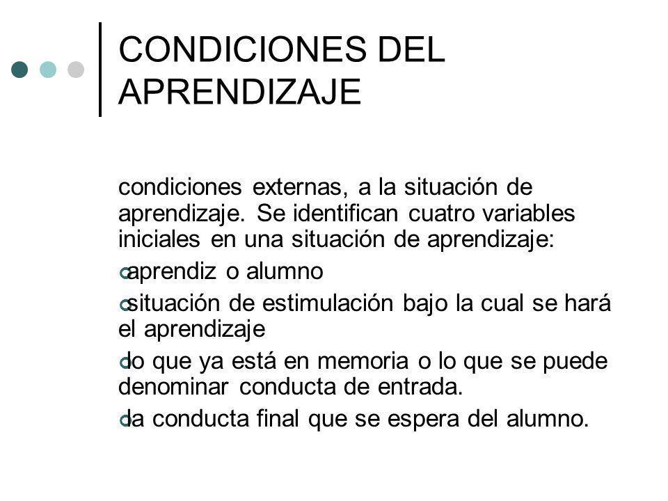 CONDICIONES DEL APRENDIZAJE condiciones externas, a la situación de aprendizaje. Se identifican cuatro variables iniciales en una situación de aprendi