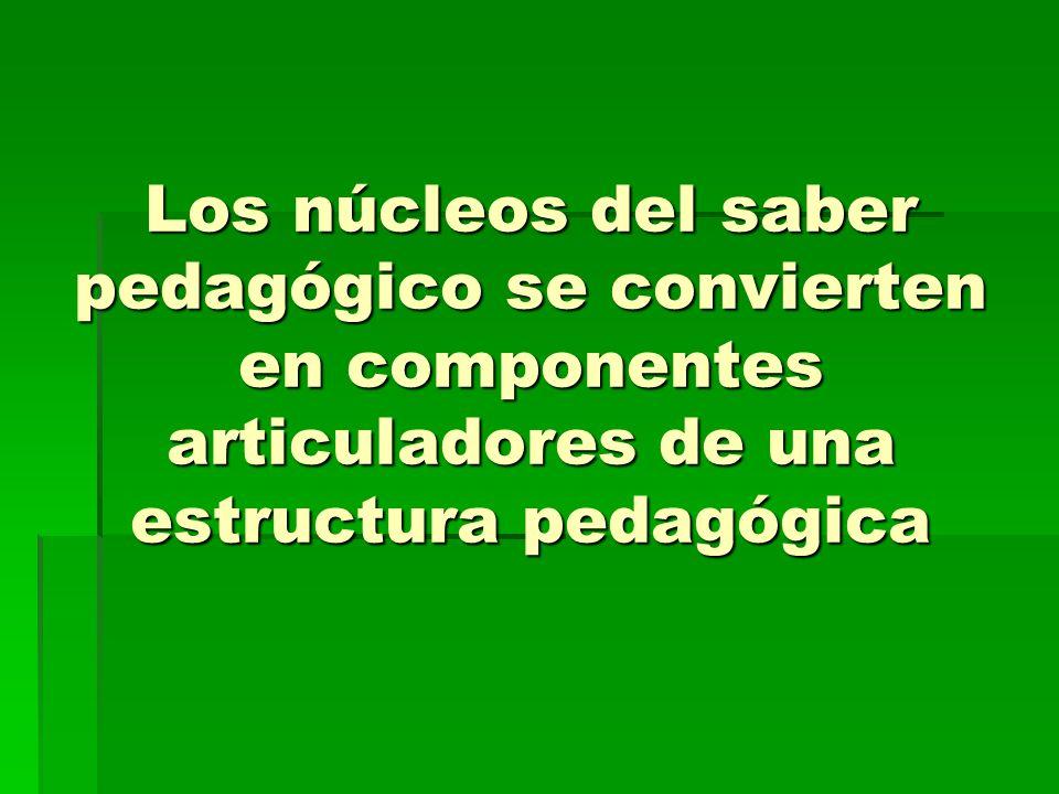 Los núcleos del saber pedagógico se convierten en componentes articuladores de una estructura pedagógica