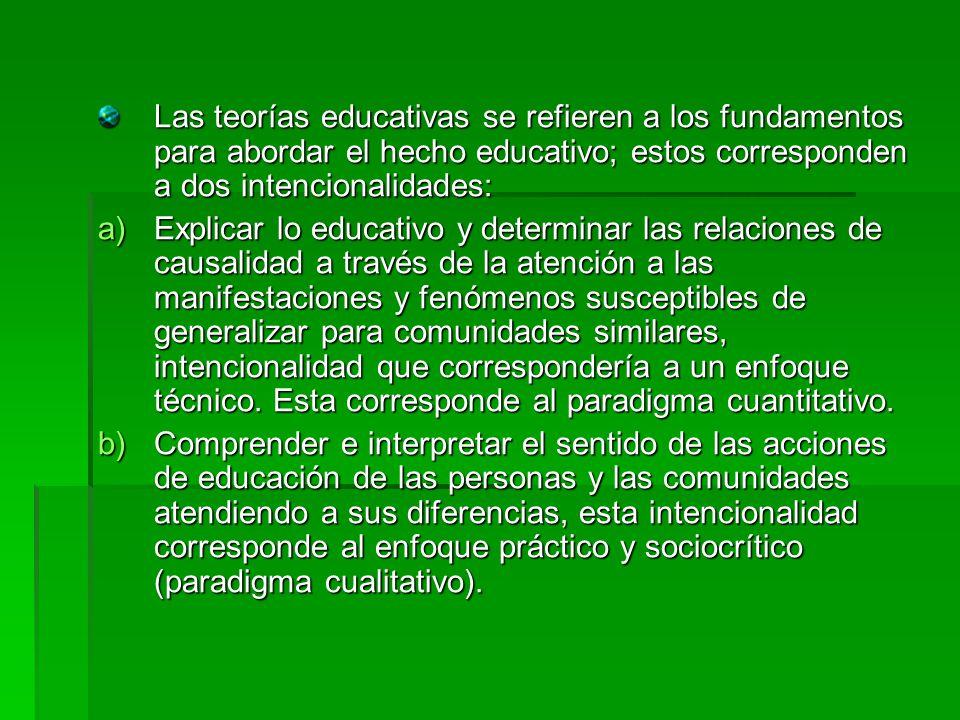 Las teorías educativas se refieren a los fundamentos para abordar el hecho educativo; estos corresponden a dos intencionalidades: a)Explicar lo educat
