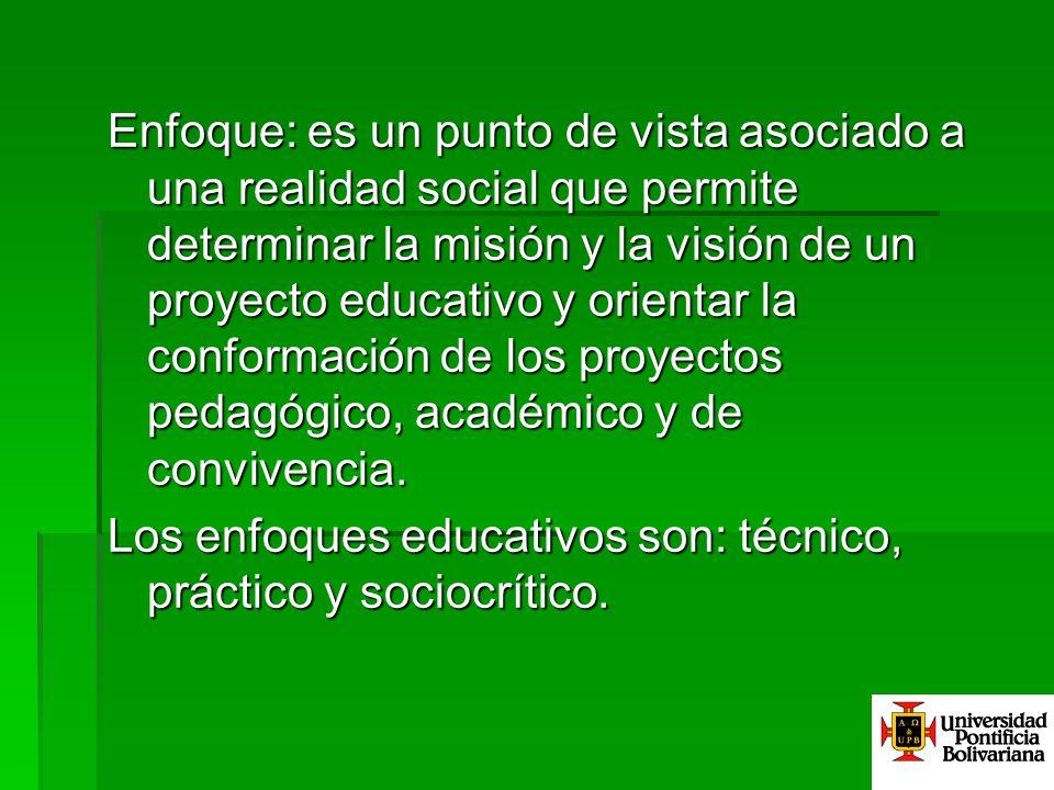 Enfoque: es un punto de vista asociado a una realidad social que permite determinar la misión y la visión de un proyecto educativo y orientar la conformación de los proyectos pedagógico, académico y de convivencia.