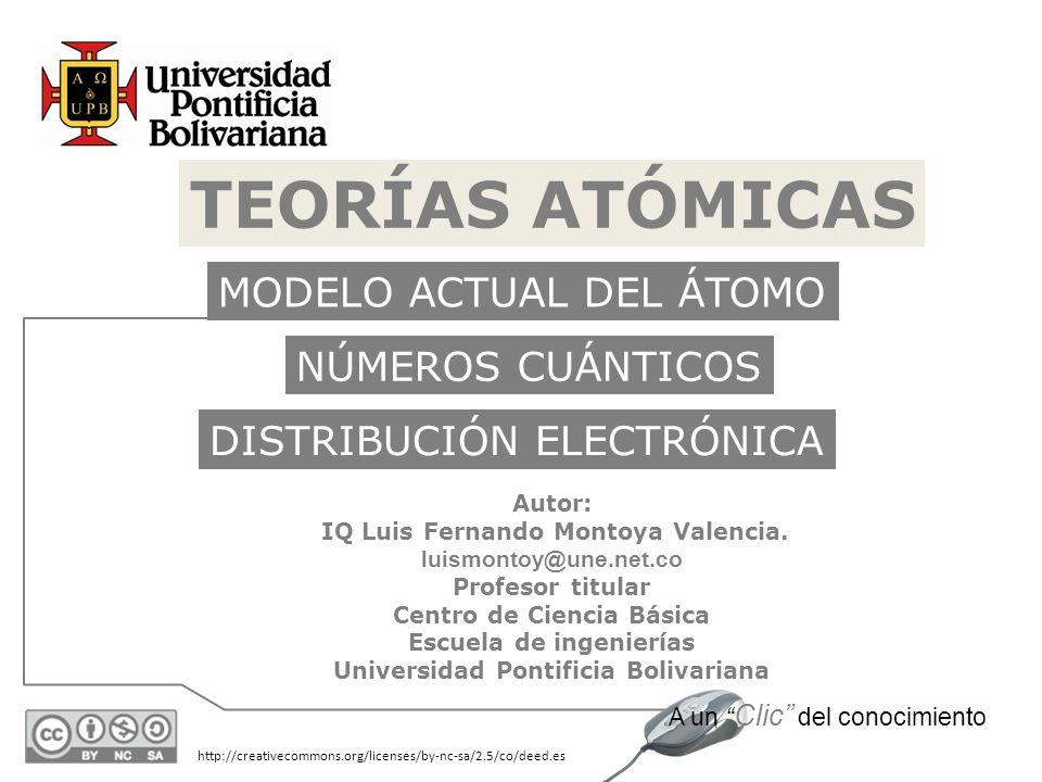 http://creativecommons.org/licenses/by-nc-sa/2.5/co/deed.es A un Clic del conocimiento TEORÍAS ATÓMICAS Autor: IQ Luis Fernando Montoya Valencia. luis