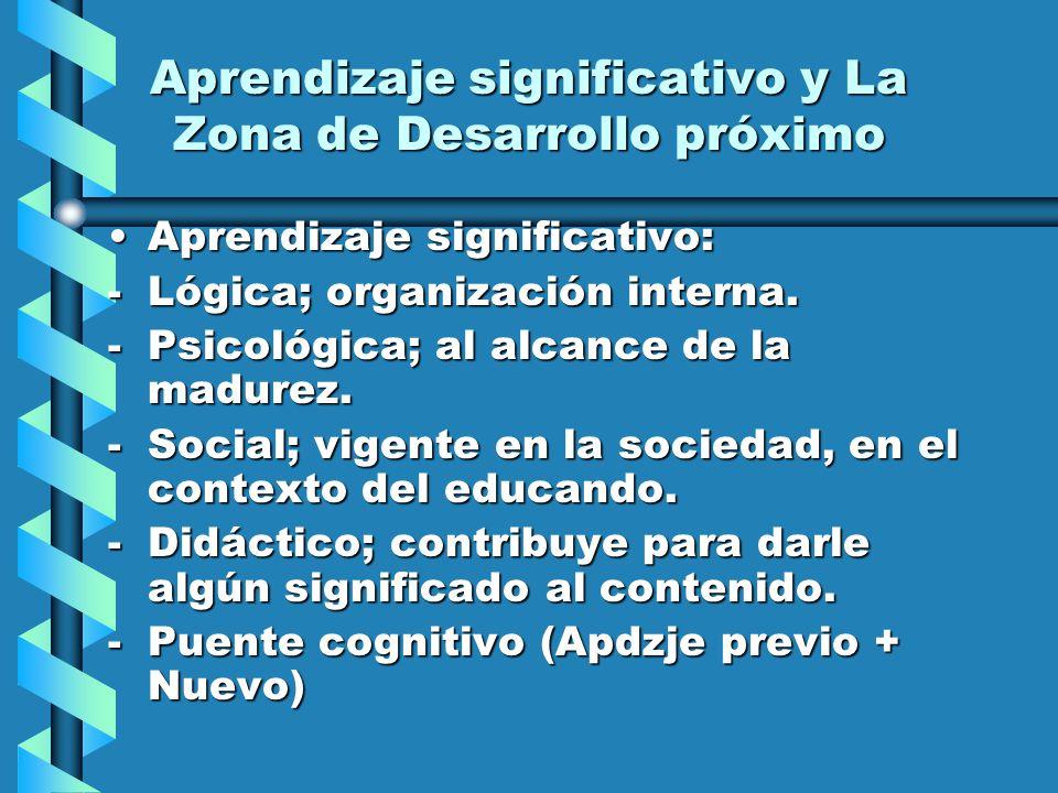 Aprendizaje significativo y La Zona de Desarrollo próximo Aprendizaje significativo:Aprendizaje significativo: -Lógica; organización interna. -Psicoló