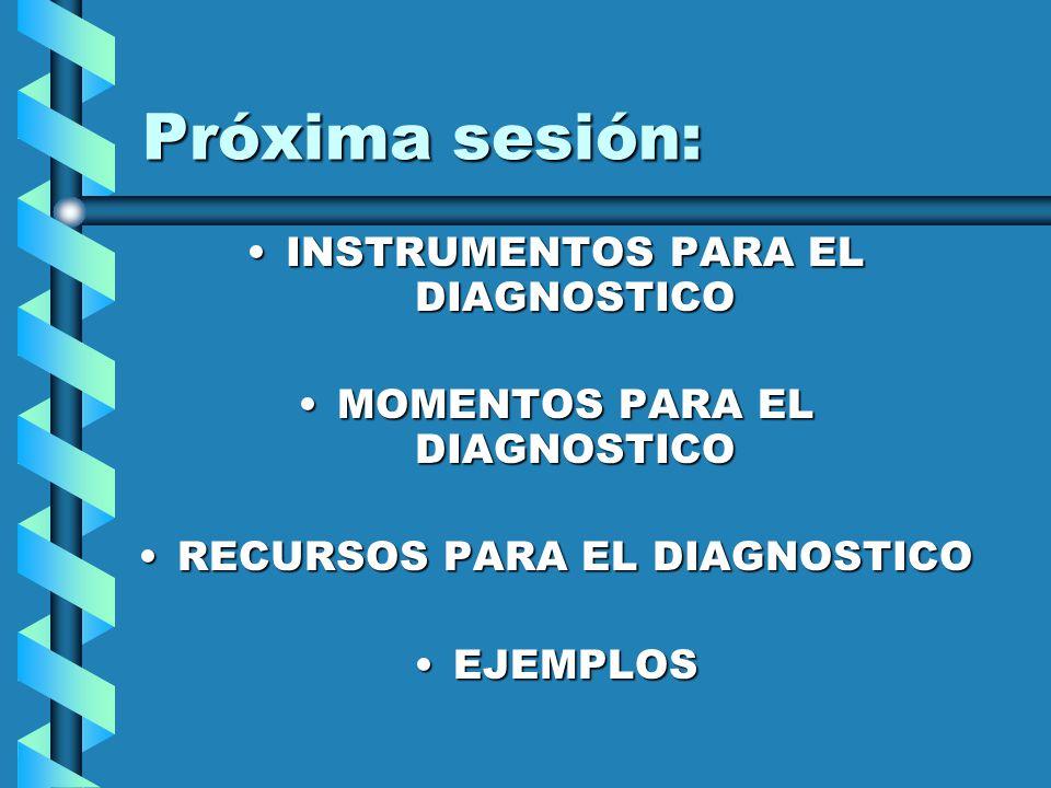 Próxima sesión: INSTRUMENTOS PARA EL DIAGNOSTICOINSTRUMENTOS PARA EL DIAGNOSTICO MOMENTOS PARA EL DIAGNOSTICOMOMENTOS PARA EL DIAGNOSTICO RECURSOS PAR