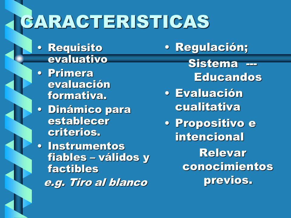 CARACTERISTICAS Requisito evaluativoRequisito evaluativo Primera evaluación formativa.Primera evaluación formativa. Dinámico para establecer criterios