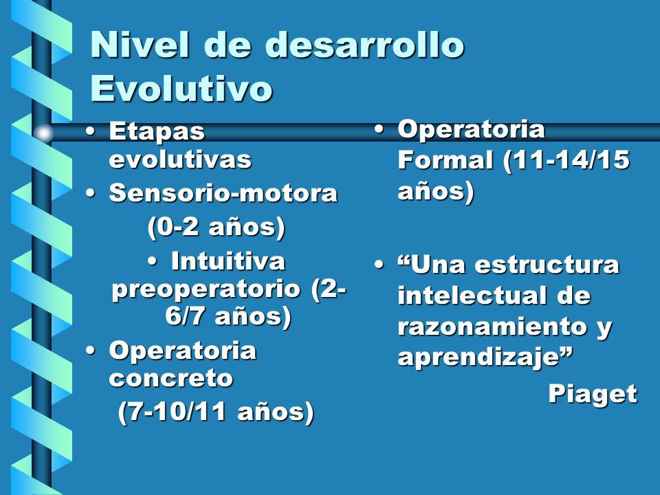 Nivel de desarrollo Evolutivo Etapas evolutivasEtapas evolutivas Sensorio-motoraSensorio-motora (0-2 años) Intuitiva preoperatorio (2- 6/7 años)Intuitiva preoperatorio (2- 6/7 años) Operatoria concretoOperatoria concreto (7-10/11 años) Operatoria Formal (11-14/15 años) Una estructura intelectual de razonamiento y aprendizaje Piaget