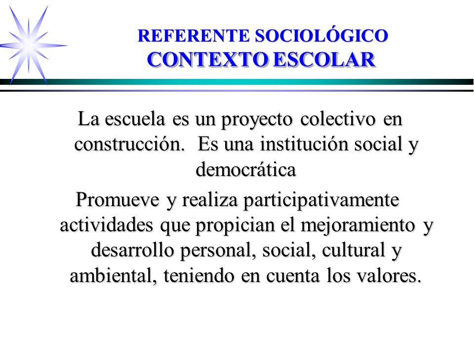 CONTEXTO ESCOLAR REFERENTE SOCIOLÓGICO CONTEXTO ESCOLAR La escuela es un proyecto colectivo en construcción.