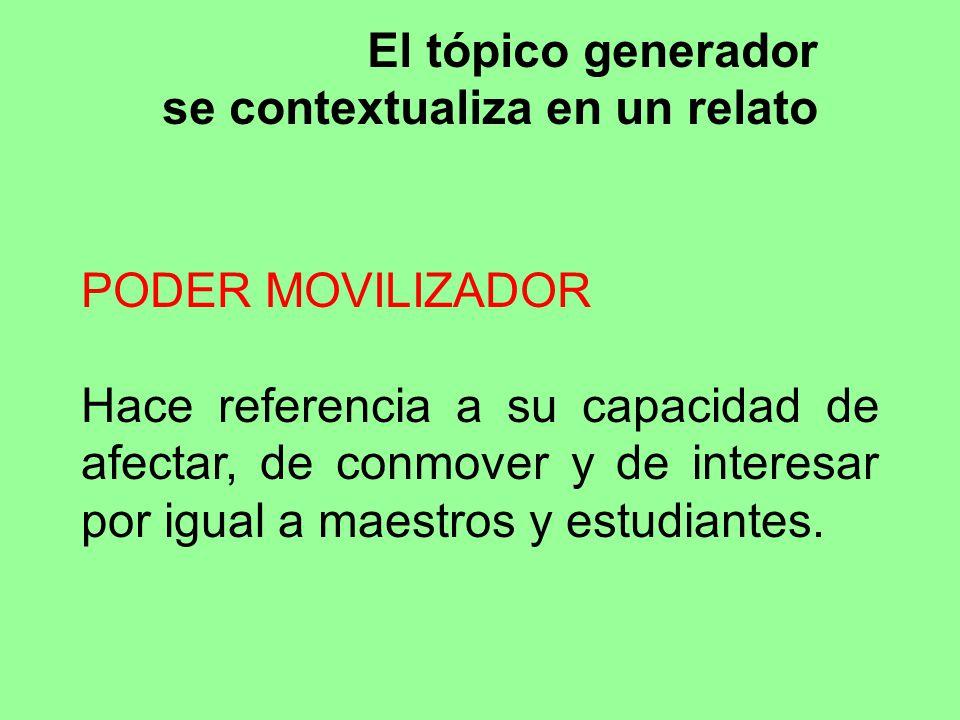 El tópico generador se contextualiza en un relato PODER MOVILIZADOR Hace referencia a su capacidad de afectar, de conmover y de interesar por igual a