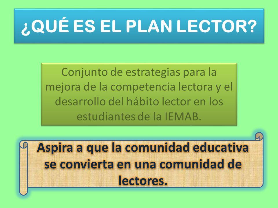 ¿QUÉ ES EL PLAN LECTOR? Conjunto de estrategias para la mejora de la competencia lectora y el desarrollo del hábito lector en los estudiantes de la IE