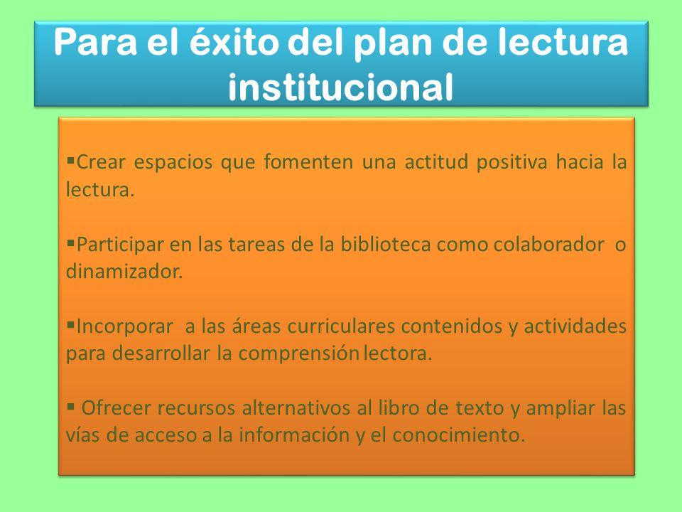 Para el éxito del plan de lectura institucional Crear espacios que fomenten una actitud positiva hacia la lectura. Participar en las tareas de la bibl