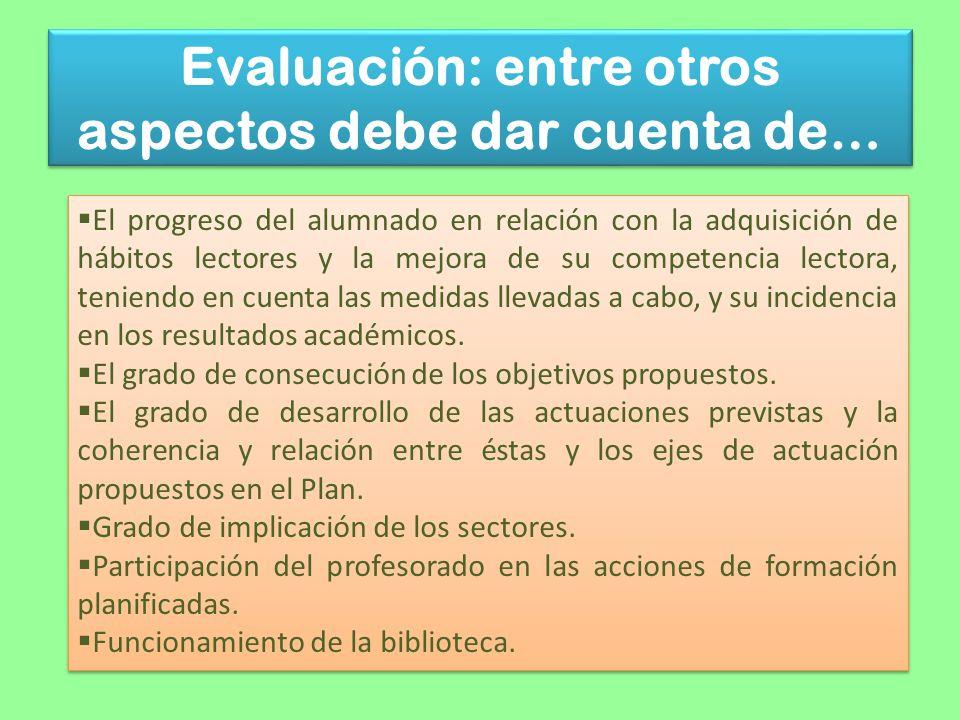 Evaluación: entre otros aspectos debe dar cuenta de… El progreso del alumnado en relación con la adquisición de hábitos lectores y la mejora de su com