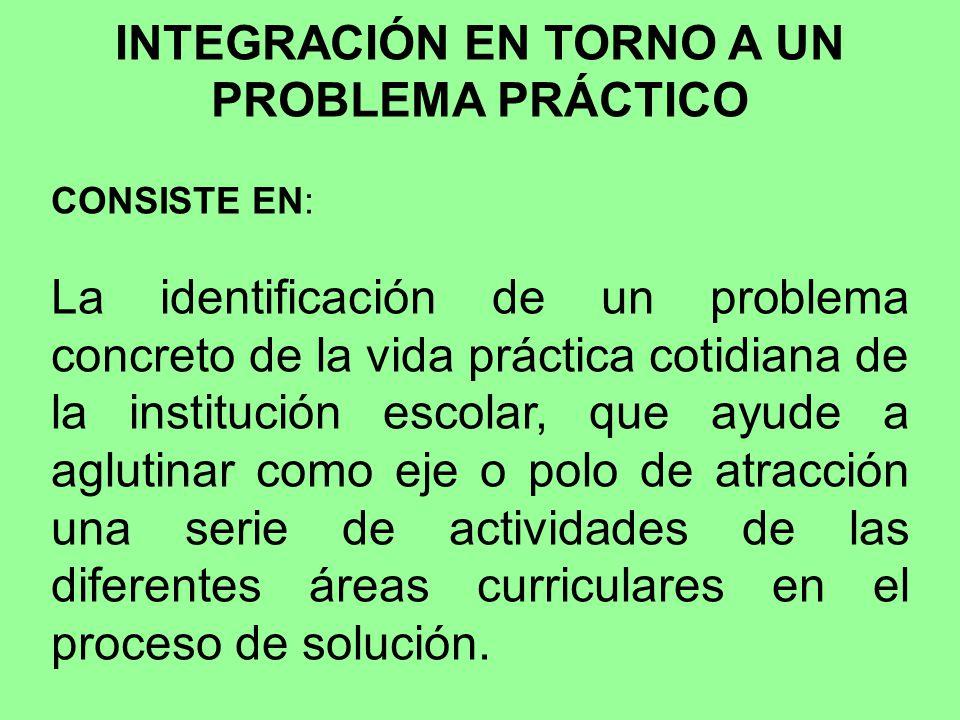 INTEGRACIÓN EN TORNO A UN PROBLEMA PRÁCTICO CONSISTE EN: La identificación de un problema concreto de la vida práctica cotidiana de la institución esc