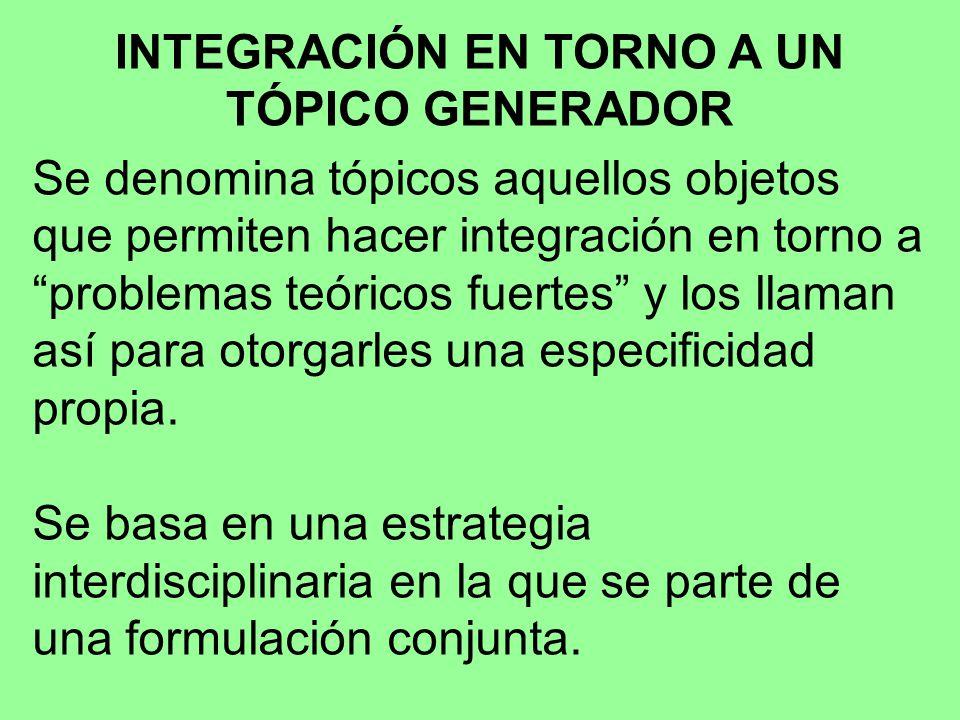 INTEGRACIÓN EN TORNO A UN TÓPICO GENERADOR Se denomina tópicos aquellos objetos que permiten hacer integración en torno a problemas teóricos fuertes y