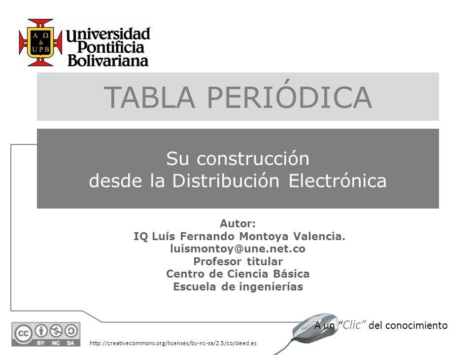 http://creativecommons.org/licenses/by-nc-sa/2.5/co/deed.es A un Clic del conocimiento Autor: IQ Luís Fernando Montoya Valencia. luismontoy@une.net.co
