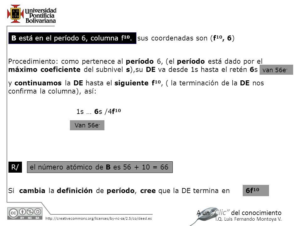 11/06/2014 http://creativecommons.org/licenses/by-nc-sa/2.5/co/deed.es A un Clic del conocimiento I.Q. Luis Fernando Montoya V. B está en el período 6