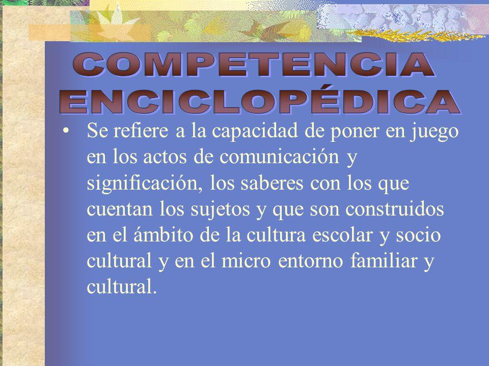 Es el reconocimiento y uso de reglas contextuales de la comunicación.